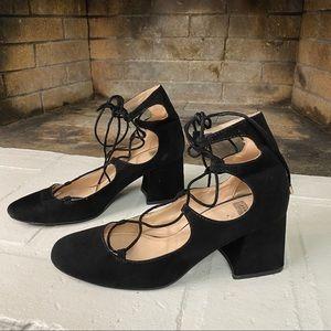 ZARA TRAFALUC Black Lace Up Chunky Heel Suede